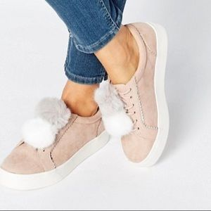 River Island Pink Pom Pom shoes